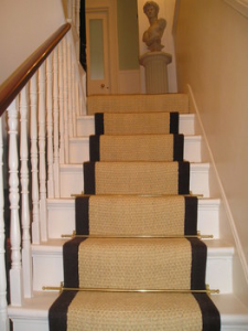Achieve a designer look on your staircase with a new coir carpet runner with hand dyed border for $199.